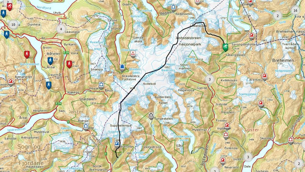 kart over jostedalsbreen Jostedalsbreen på langs 2014 | kart over jostedalsbreen
